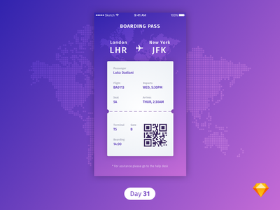 #31 | Boarding Pass | .sketch download sketch freebie free dailyui daily ui boarding pass plane boardingpass