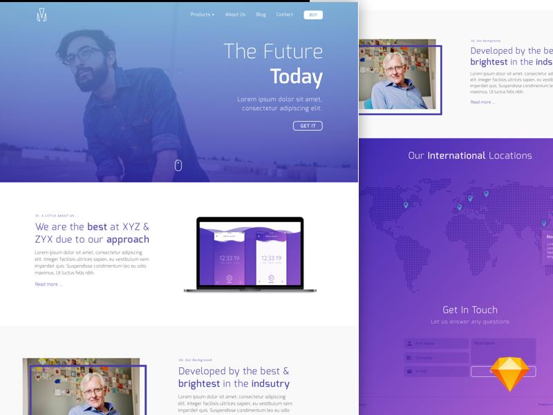 Simple Lander site homepage download sketch freebie free modern company blue website purple
