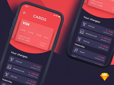 Card App | iOS freebie credit card cards card payment ui ios dark blue red