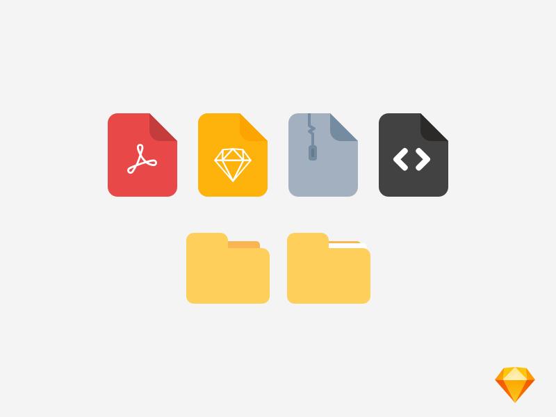 File Icon Set | Sketch Freebie sketch freebie free icon set folder filetype file icons icon