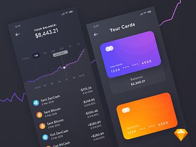 Bitcoin App UI | .sketch purple graph ios ui wallet app bitcoin