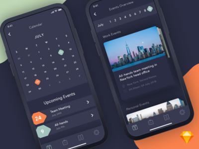 Calendar App | .Sketch download sketch freebie free planner planning calendar .sketch