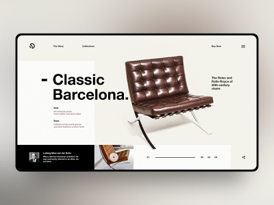 Classic Barcelona chair ui web ui typography design ui design ux landing page concept design