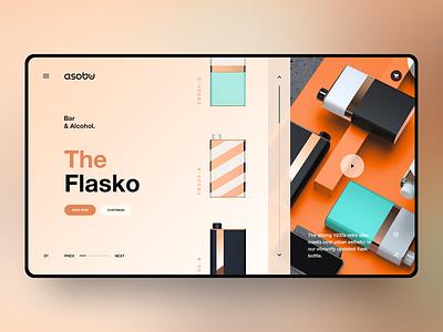 The Flasko orange modern layout product page typography ui web design web ux ui design landing page design concept design