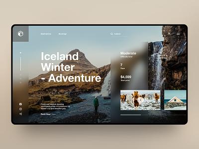 Island Winter island traveling modern illustration layout web design ui web ux ui design landing page design concept design