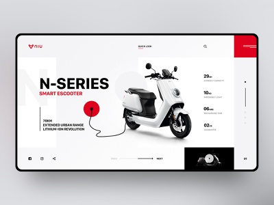 Niu - Smart Escooter red scooter white black and red modern layout web design typography ui web ux ui design landing page design concept design