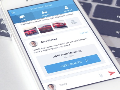 Chat and vehicle quote message quote vehicle inbox chat flat ux ui app design mobile