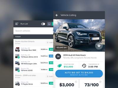 eBlock - Run List ux ui app mobile flat design vehicles auction run list