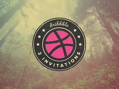 2 Dribbble Invitations badge ball available dribbble invitation invite invites