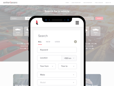 Ontario Cars search cars vehicle ontario iphone x flat ux ui app design mobile