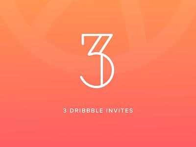 3 Dribbble Invites gradient invite dribbble