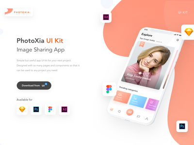 PhotoXia Image Sharing app UI Kit minimal icon vector ux ui flat design app