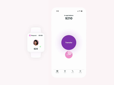 Transfer money micro interactions banking mobile app money watch os ios interaction