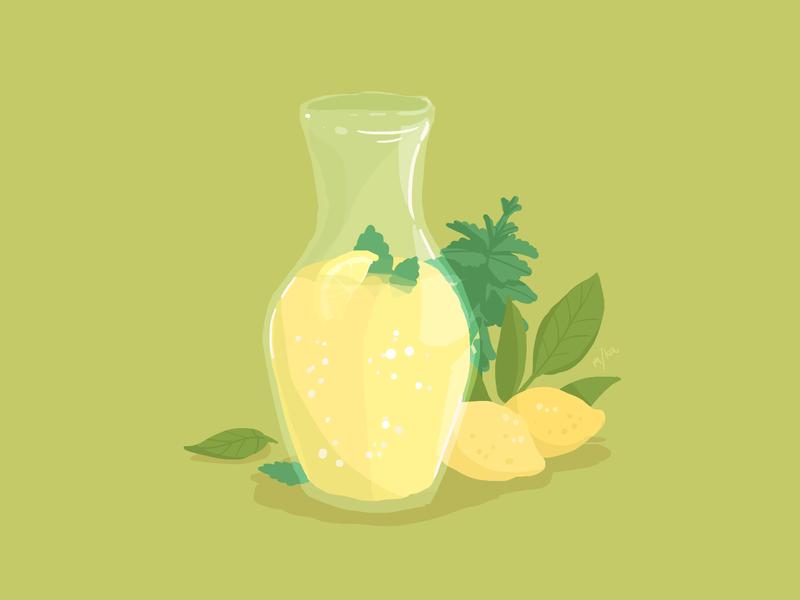 Summertime green beverage simple digital illustration food lemonade