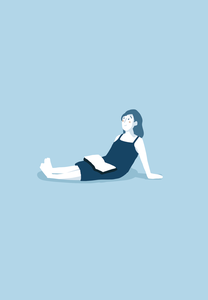 Sitting girl illustration digital illustration reading portrait girl digital art illustration