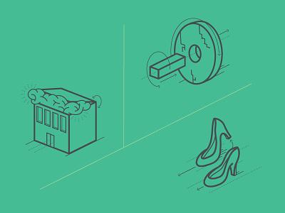 Illustrations illustration vector line shoes brainbox wheel