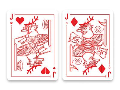 Holiday Reindeer Cards poker christmas holiday reindeer playing cards line art illustration