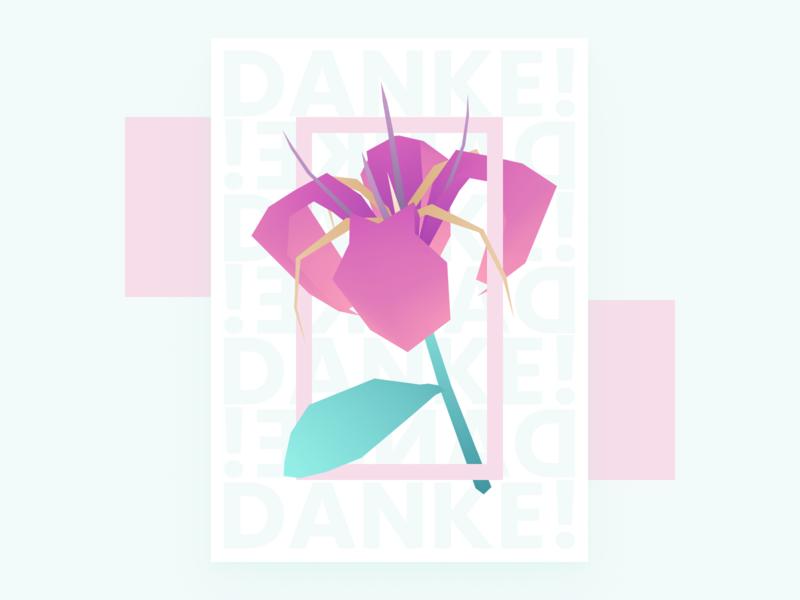 Thank You Flower stylized 3d farewell gift flower illustration flower