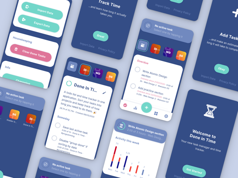 Done in Time – ToDo List and Time Tracker design time tracker todo app ui design ui