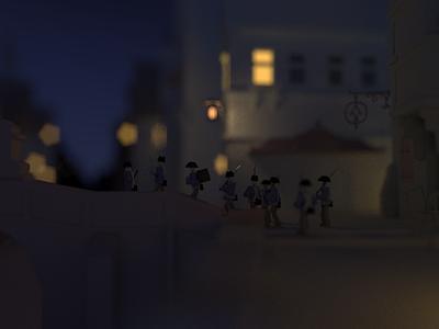 Interpretation of the Nightly Round illustration reinterpretation reimagination 3d render