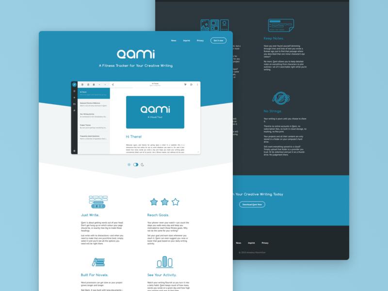 Qami Website ui design creative writing product page dark theme writing app ui web
