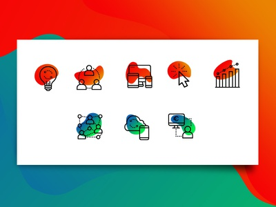 Xteach Icons gradient grabient logo identity icon design branding system custom icons