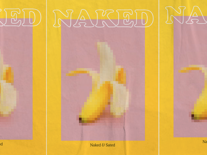 naked poster menu sated madrid fruit nude naked menu poster banana restaurant bar logo custom layout branding design