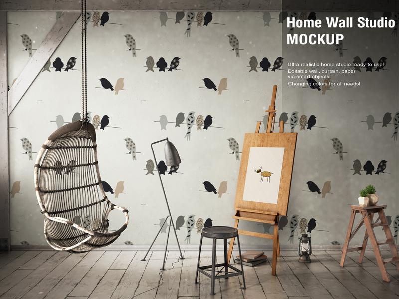 Home wall studio mockup