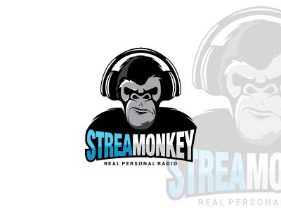 Stream Radio Logo Design confident masculine monkey music monkey logo stream radio logo monkey logo logo design logo