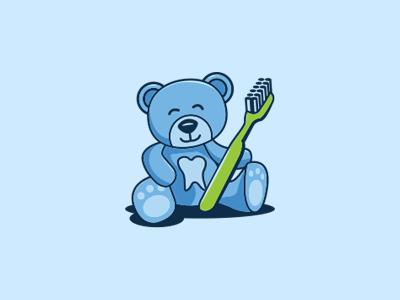 Bear Logo tooth logo dentist logo dentist kids logo happy logo happy sweet pediatric bear logo design logo illustration