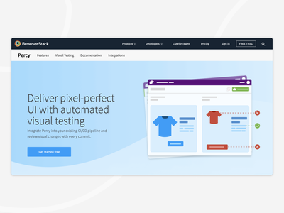 Visual Testing With Percy pixel ui bug automation website visual screenshots code developer browsers 2d product web mobile browserstack testing design illustration