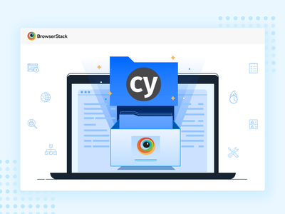 Cypress Launch test setup record code launch automation javascript developer 2d flat web mobile product cypress browserstack testing design illustration