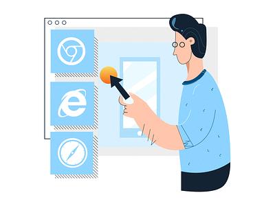 Live Testing character dashboard interaction mobile safari explorer chrome browsers web manual testing live illustration