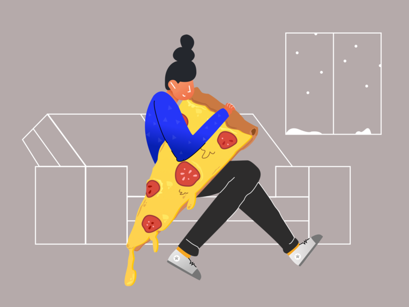 i ❤ pizza digital vector illustrator friend girl exploration concept food web creative design character pizza work office illustration