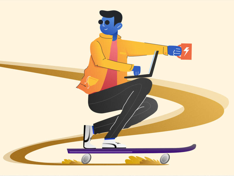 Coffee Racer ui design skateboarding street urban puma coffee cup boss office speed work skateboard skating coffee character illustration