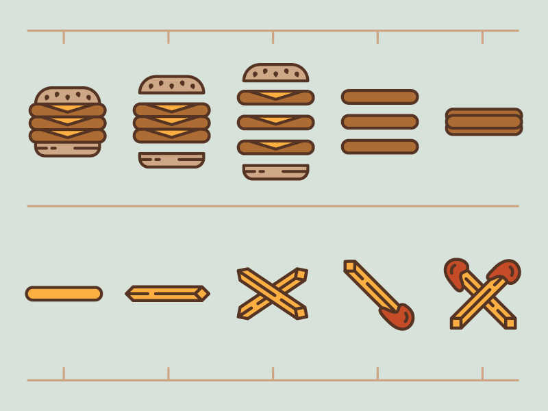Burger To Fries icons menu animation storyboard idea burger fries illustration hamburger fast food diner
