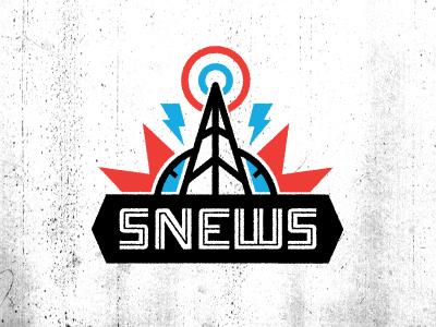 SNEWS band music logo orange blue vintage texture radio tower onramp lost type typography