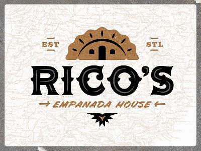 Rico's Empanada House | Logo food truck restaurant house classic gold empanada spanish logo