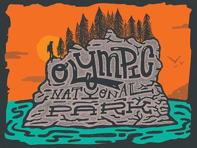 Type Hike — Olympic National Park type hike type parks nostalgic national mountains illustration hiking hike hand type hand drawn adventure