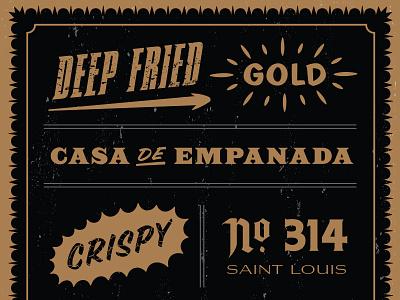 Ricos Empanada Sign Exploration sign empanada rad spanish graffiti st. louis gangster regal gold illustration type
