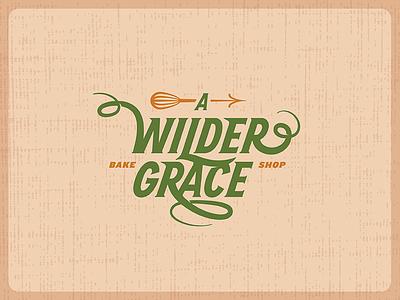 A Wilder Grace —Logo Design curl arrow bake grace traditional rustic baking mixer logo script