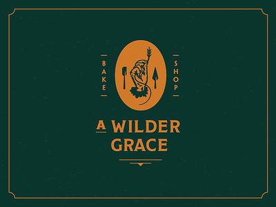 A Wilder Grace — Logo Design wheat hand wild traditional script rustic mixer logo grace baking bake arrow