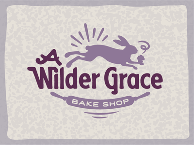 A Wilder Grace —Logo Design bakery storybook whimsical bake shop logo rolling pin hand drawn muffin bunny