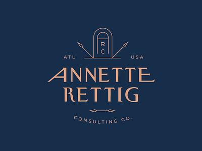 Annette Rettig Consulting — Logo modern icon lockup type typography serif simple gold luxury monogram