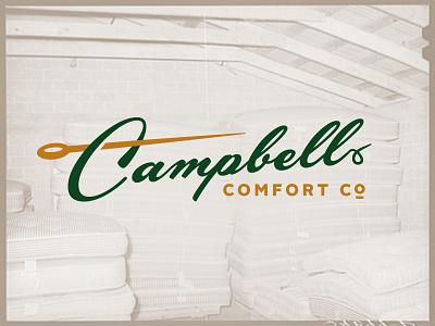 Campbell Comfort Co. —Logo Design logo missouri 50s gold green needle classic script comfort mattress