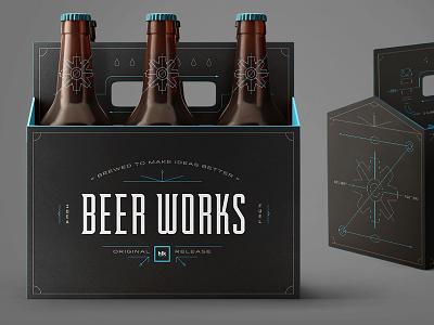 HLK Beer Works Challenge moonlike simple typography dark gears minimal lines packaging beer