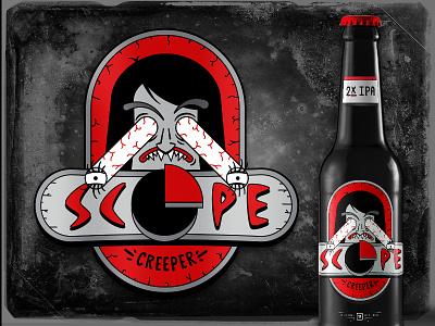 HLK BeerWorks —Scope Creeper cartoon gross typography packaging creepy red ipa budget eyeball gears dark beer