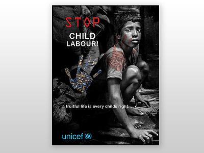 Stop Child Labour blue art modern red black dhaka bangladesh graphic design fine art children poster design stop child labour
