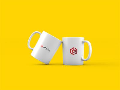 Artbox Cup stylish smart modern box mock up white yellow mug cup ux ui logo