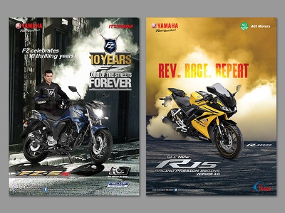 Magazine Ad blue logo bangladesh art dhaka gif mock up popular design typography modern smart ui illustration racing yellow bike yamaha print ad magazine ad